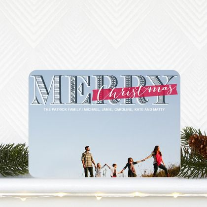'Cozy Calligraphy' #Christmas Card by Elm and Gray for Tiny Prints features a burst of red and chic font.
