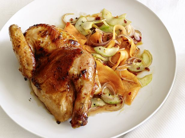 Glazed Hens With Cucumber-Cantaloupe Salad #Protein #Fruit #Veggies #MyPlate #FNMag