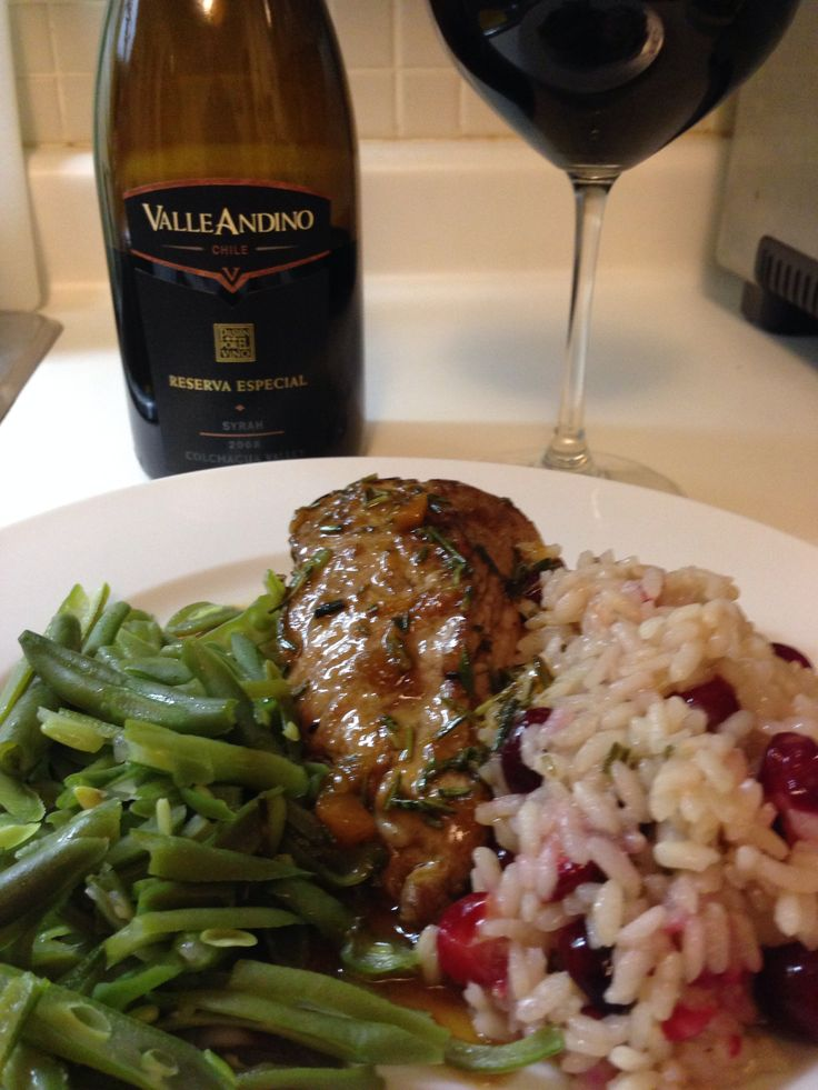 Apricot glazed pork tenderloin and cranberry risotto with Valle Andino ...
