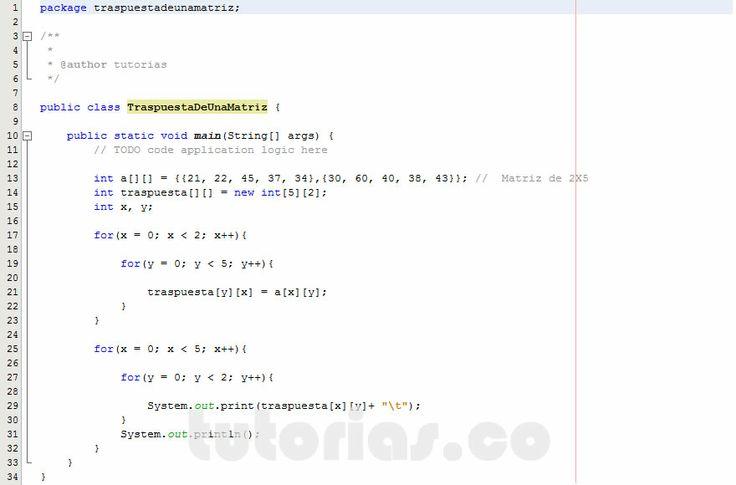 Http tutorias co arrays java traspuesta de una matriz