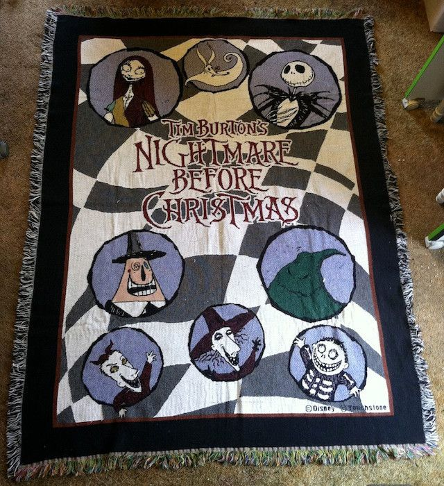 Nightmare Before Christmas Woven Throw Disney Tim Burton rare