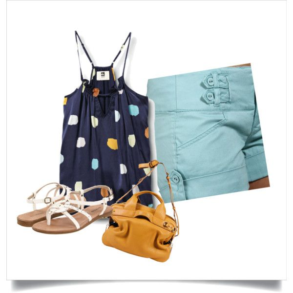 Blue dot top and teal shorts, created by vern82386 on Polyvore