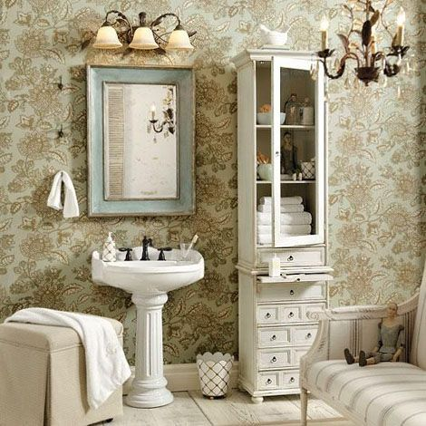 Original French Bathroom Mirror Shabby Chic White Mirror