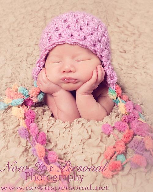 Crochet Baby Hat Pattern With Pom Pom : Crochet PATTERN - Earflap Hat Crochet Pattern - Crochet ...