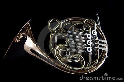 French Horn on Black Background | French horns | Pinterest