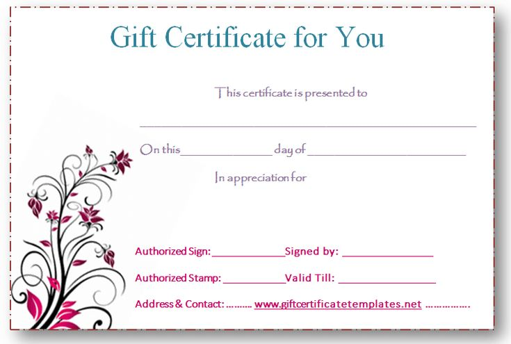 Editable Gift Certificate Templates - Printable blank gift certificate template free