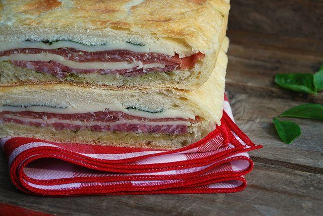 Pressed Picnic Sandwich -- ciabatta bread, pesto, sopressata ...
