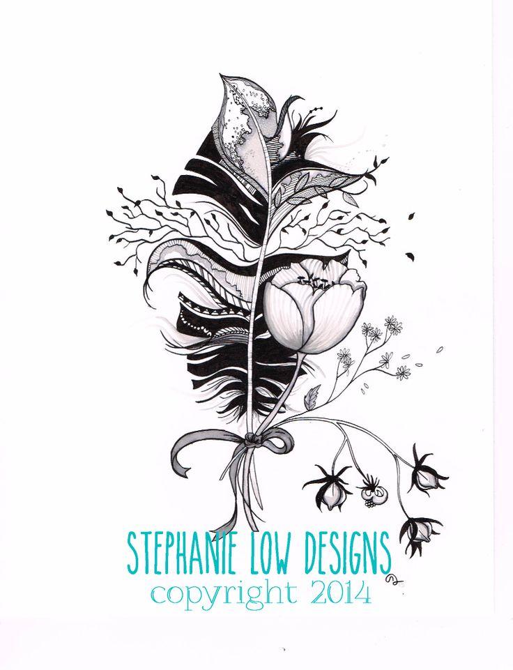 "Summer"" feather tattoo https://www.etsy.com/shop/SlowDesigns | My ..."