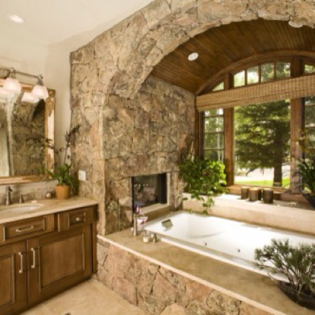 Master bath dream house pinterest for Bathrooms with fireplaces