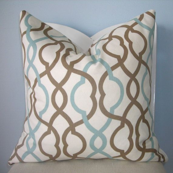 Blue And Brown Decorative Pillow Cover : Blue and Brown Geometric Trellis Decorative Pillow Cover 24 x 24