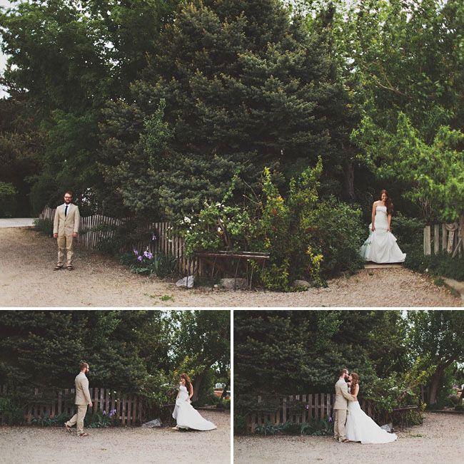 Boho Backyard Wedding : First Look Idea  Bohemian Backyard Wedding in Idaho Natalie + Will