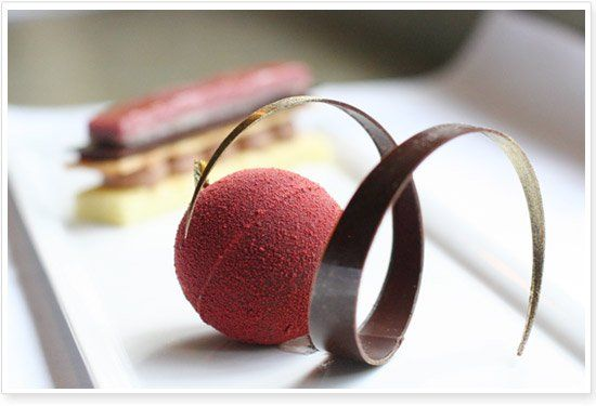 ... chocolate mousse and cherry crème brulée with dark chocolate sphere