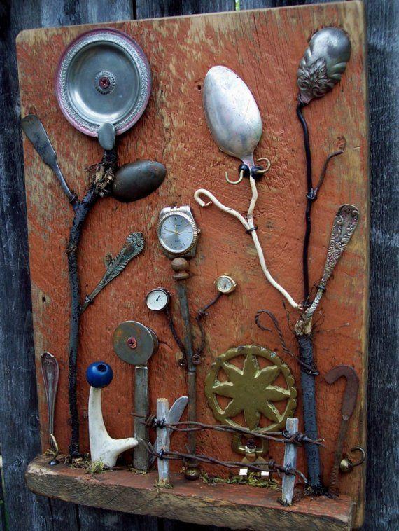 Assemblage art SALVAGE GARDEN II Outsider art by bearpawrustics, $195.00