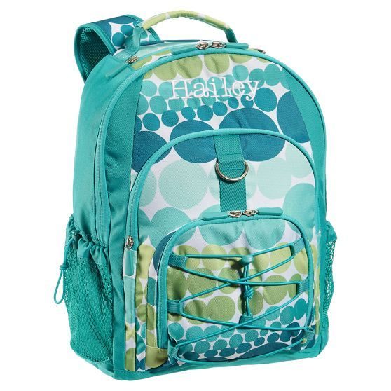 "Great example of a girls backpack ""without the girly."" One of the few we could find in any girls department without pink or flowers!  From Pottery Barn Teen (so sized for the slightly older girl)."