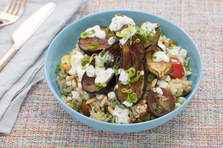 Quinoa Tabbouleh & Fairy Tale Eggplants with Toasted Pine Nuts & Yogu...