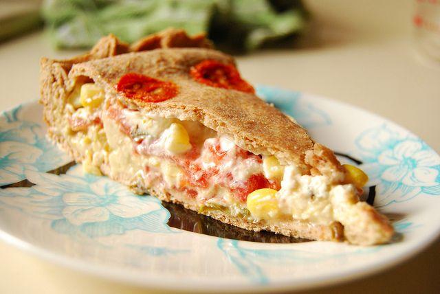 Vegan tomato and corn pie! | oishi!! | Pinterest