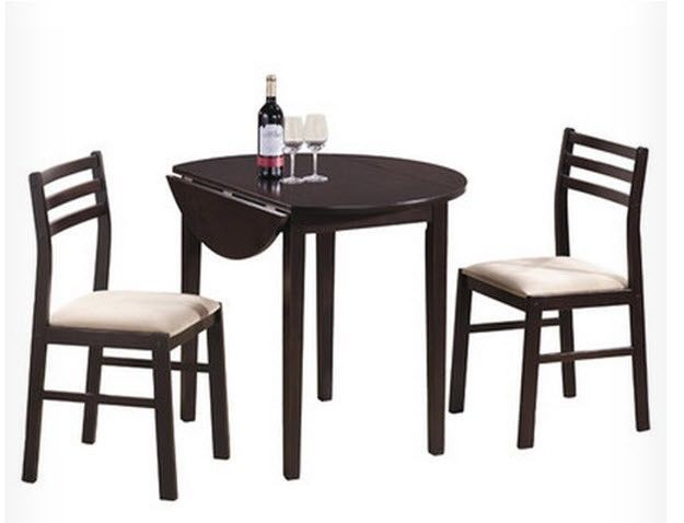 Drop leaf round dining table set casual furniture 3 piece for Round kitchen table sets with leaf