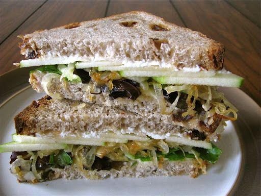 Goat Cheese, Brie, and Caramelized Onion Sandwich with Apples | Grub ...