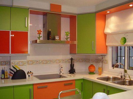 Green and orange kitchen  Home Sweet Home  Pinterest