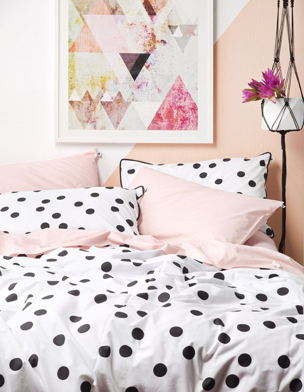 Cuteness. Spots / linen / decor / styling / pastels / timber / interior design / kitsch / playful / bedroom