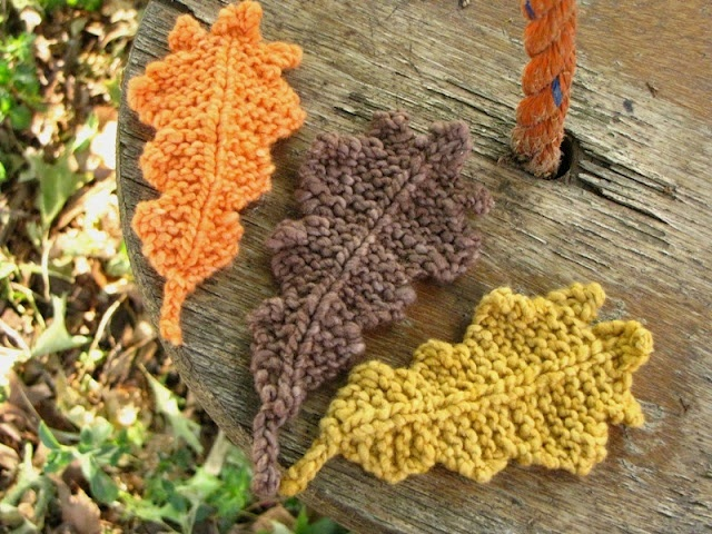 Autumn Oak Leaf Knitting Pattern Seasonal Crafts Pinterest