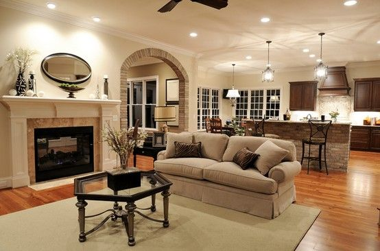 Open living room layout into kitchen mc home pinterest for Great room designs