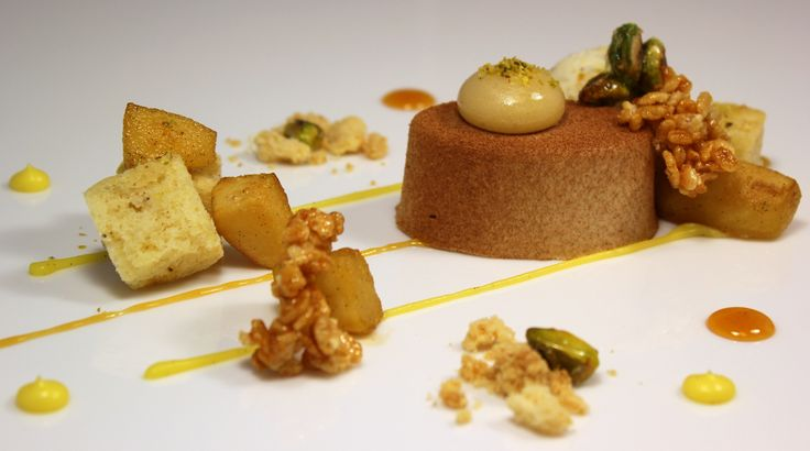 ... pear pear caramel brown butter financier and honey pistachio ice cream