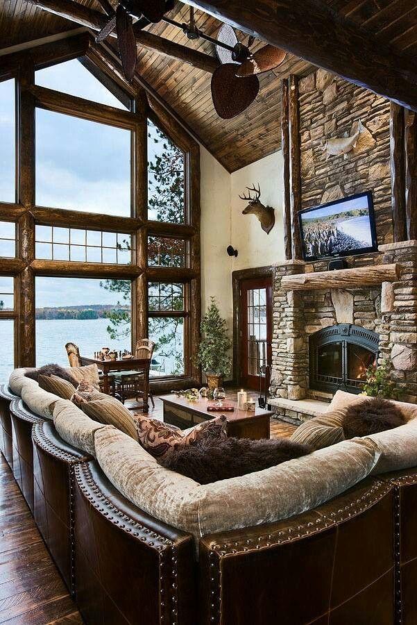 Mountain Living Room Log Cabin My Childhood Home Pinterest