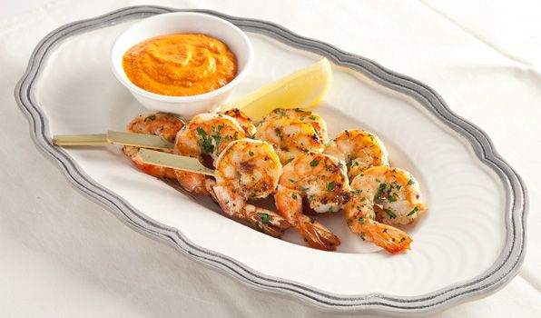 Shrimp Kabobs with Roasted Red Pepper Dip - A vibrant, savoury dip ...