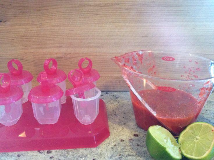 """Strawberry """"Mojito"""" Mini Pops"""