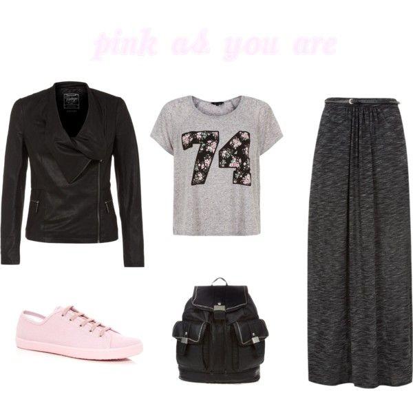New Look Summer Fashion Grunge Pink Flowers Black Grey