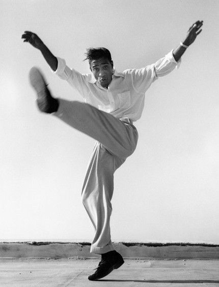 Sammy Davis Jr. dancing on a Hollywood rooftop, 1947.