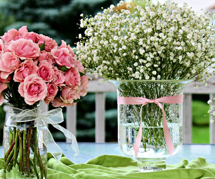 Baby s breath centerpiece and pink roses my happily ever