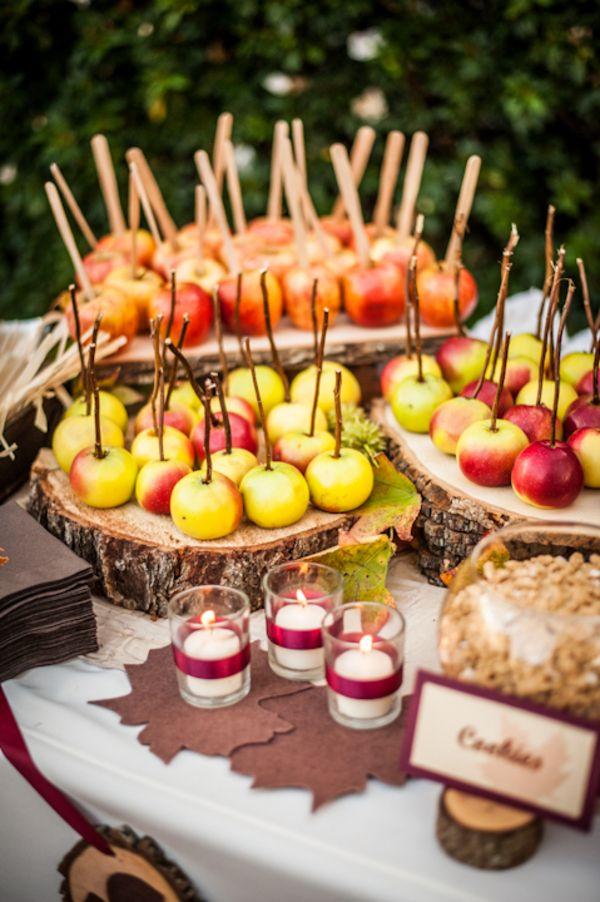 Caramel Apple Bar at a Fall Wedding|Photo by:  walterwilsonstudios.com