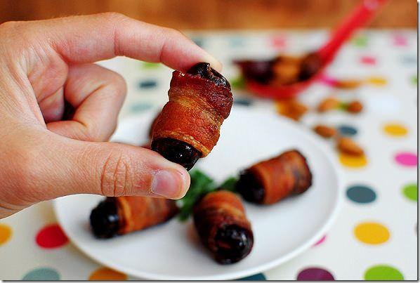 Bacon Wrapped Almond Stuffed Dates #appetizer #party @Iowa Girl Eats ...