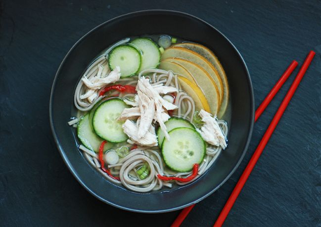 Chilled Cucumber Soup with Soba Noodles Light and refreshing, this ...