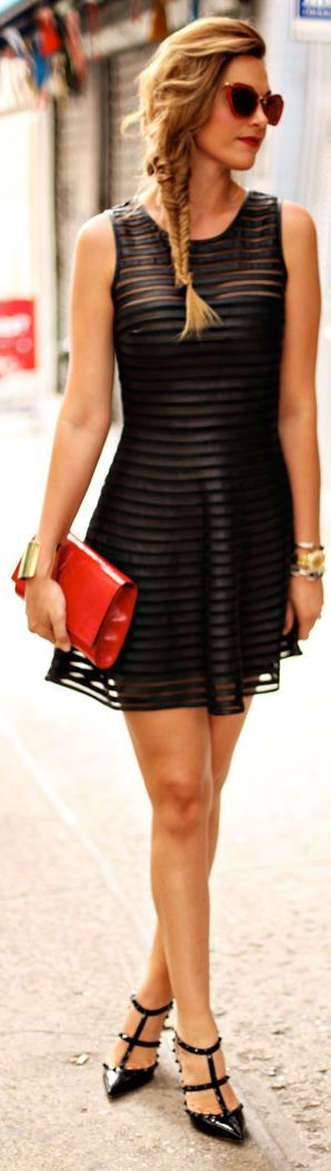 Street fashion style chic...... Timeless Street style: Little black dress, red clutch and Valentino Rock Stud Pumps