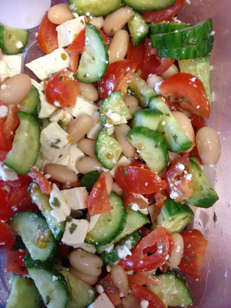 ... tofu, tomato, cucumber, feta, squirt of lemon juice, parsley and