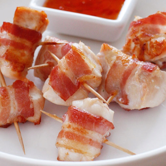 Bacon Wrapped Chicken Bites Recipe — Dishmaps