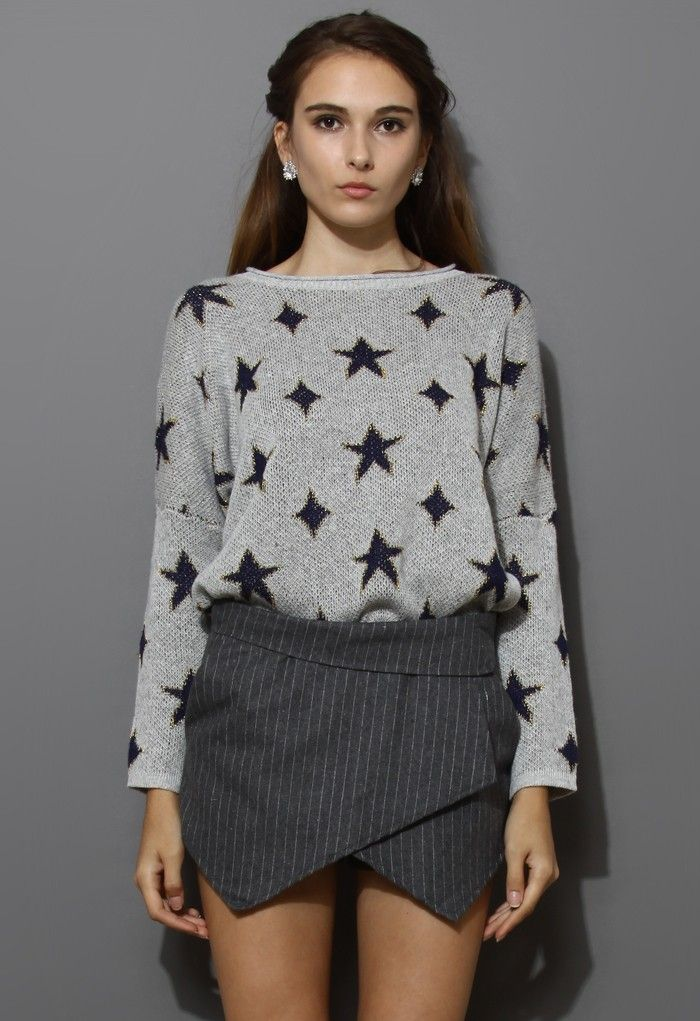 Twinkle Starts Grey Oversize Sweater