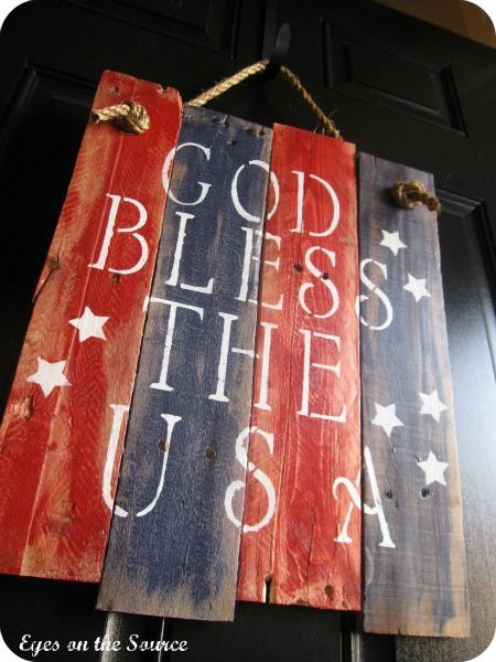 Red White Blue Pallet Sign black door & God Bless Texas too