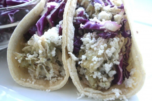 Shredded Chicken And Tomatillo Tacos With Queso Fresco ...