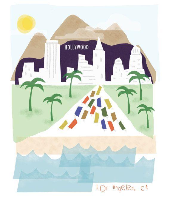 Los Angeles art print - 8x10 - LA California CA downtown skyline city poster wall decor via Esty