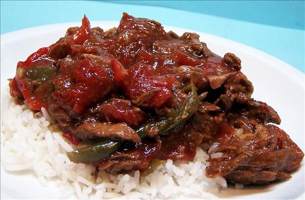 Easy Pepper Steak in the Slow Cooker: 2 lbs stew beef, 1 can or jar of ...