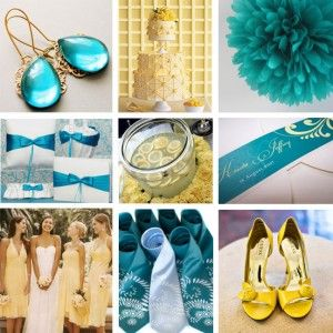 turquoise and yellow.. I want blue, he wants yellow. Nice compromise! :)