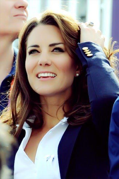 kate in navy blazer