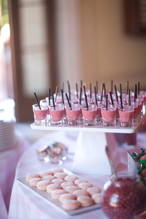 Strawberry smoothie shots and strawberry macarons