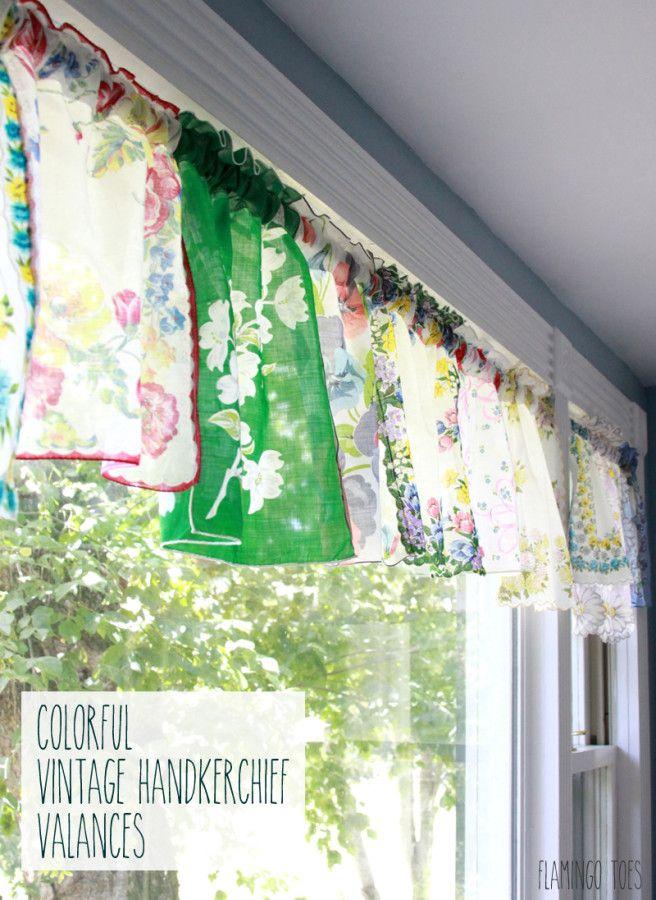 Colorful Vintage Handkerchief Valances - super simple and great vintage look!