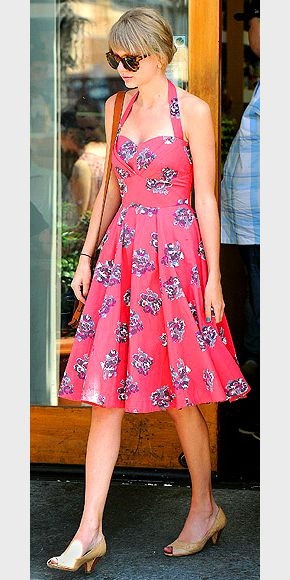 Taylor in a pink dress. She must have the most amazing closet ever, she ALWAYS looks good when she's out and about.