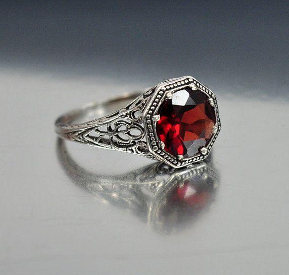 Vintage Sterling Silver Filigree Garnet Ring Size 6.5 Engagement Ring ...